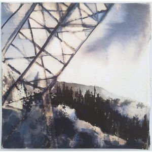 Ink #1 Monument, 2020, Ink and bleach on khadi paper, 19 x 19cm approx | Julia Brown