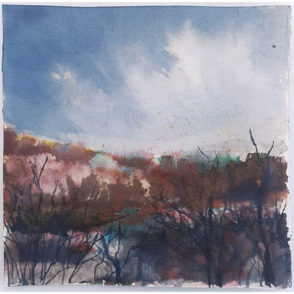 View North, Autumn, 2020, Ink, bleach and crystal colour on khadi paper, 19 x 19cm approx | Julia Brown