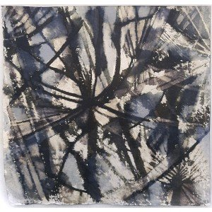 Seedheads, 2020, Ink and bleach on khadi paper, 19 x 19cm approx | Julia Brown