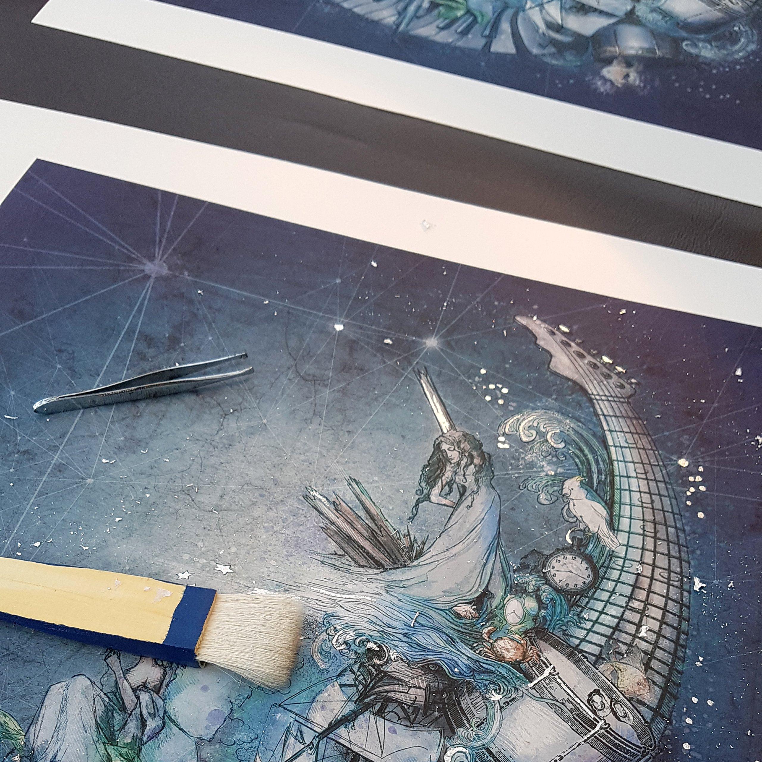 Embellishing my Ltd Ed prints with silver leaf