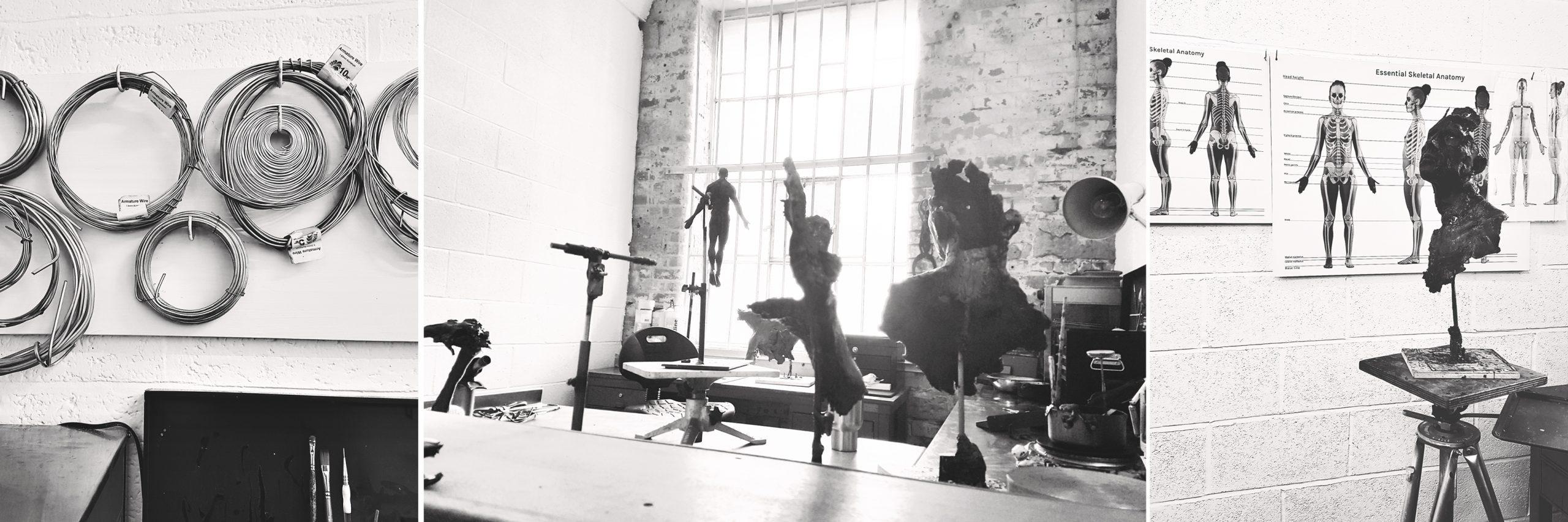 3-way montage showing work in progress sculptures and studio equipment