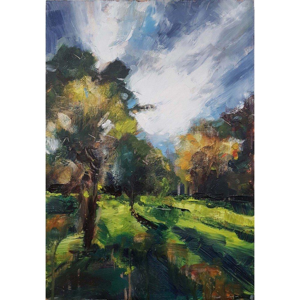 Summer Orchard Study, 2020, oil on board, 45 x 31.5cm | Julia Brown