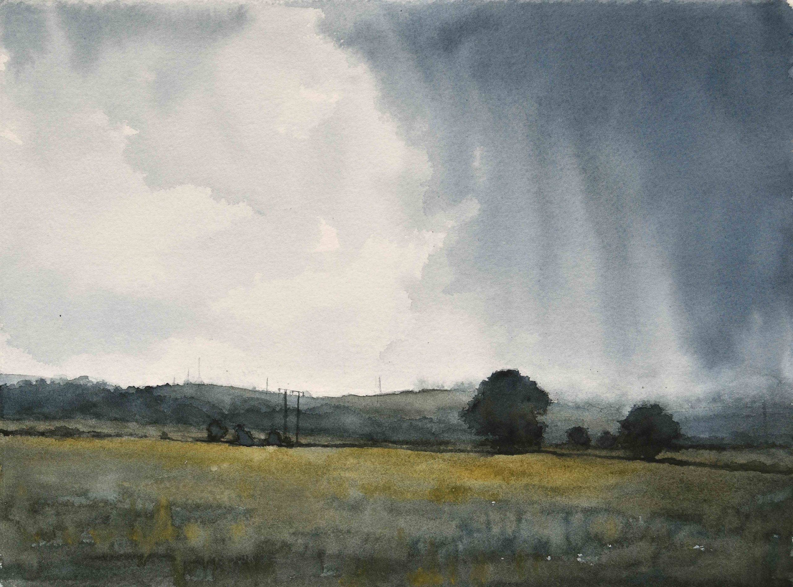 Summer Rainstorm Looking East, 2020, Watercolour on Saunders Waterford Cotton Rag, 29 x 38cm | Julia Brown