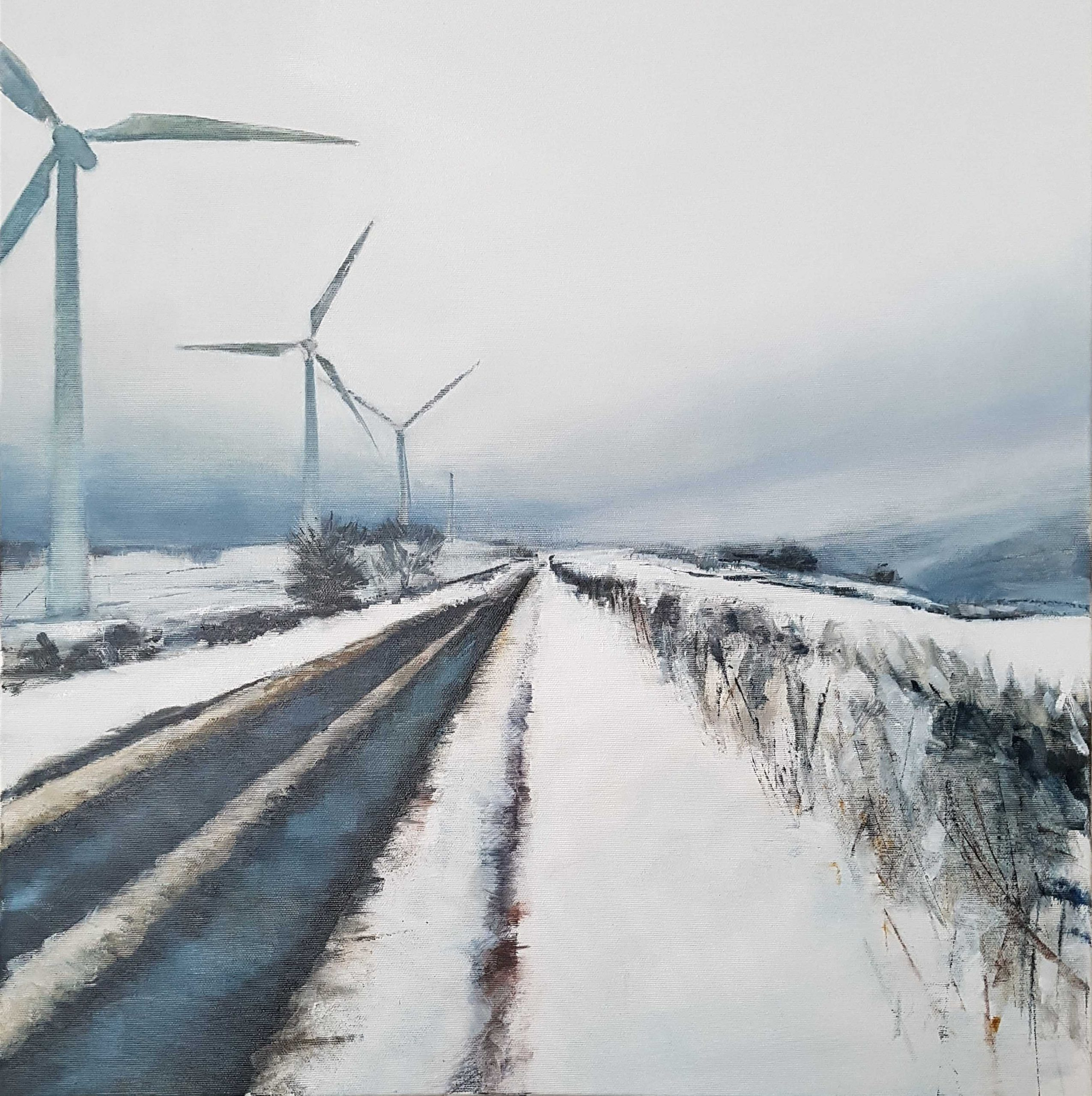 NIMBY, 2020, oil on canvas, Landscape painting of snow and windmills, 61x61cm, Julia Brown