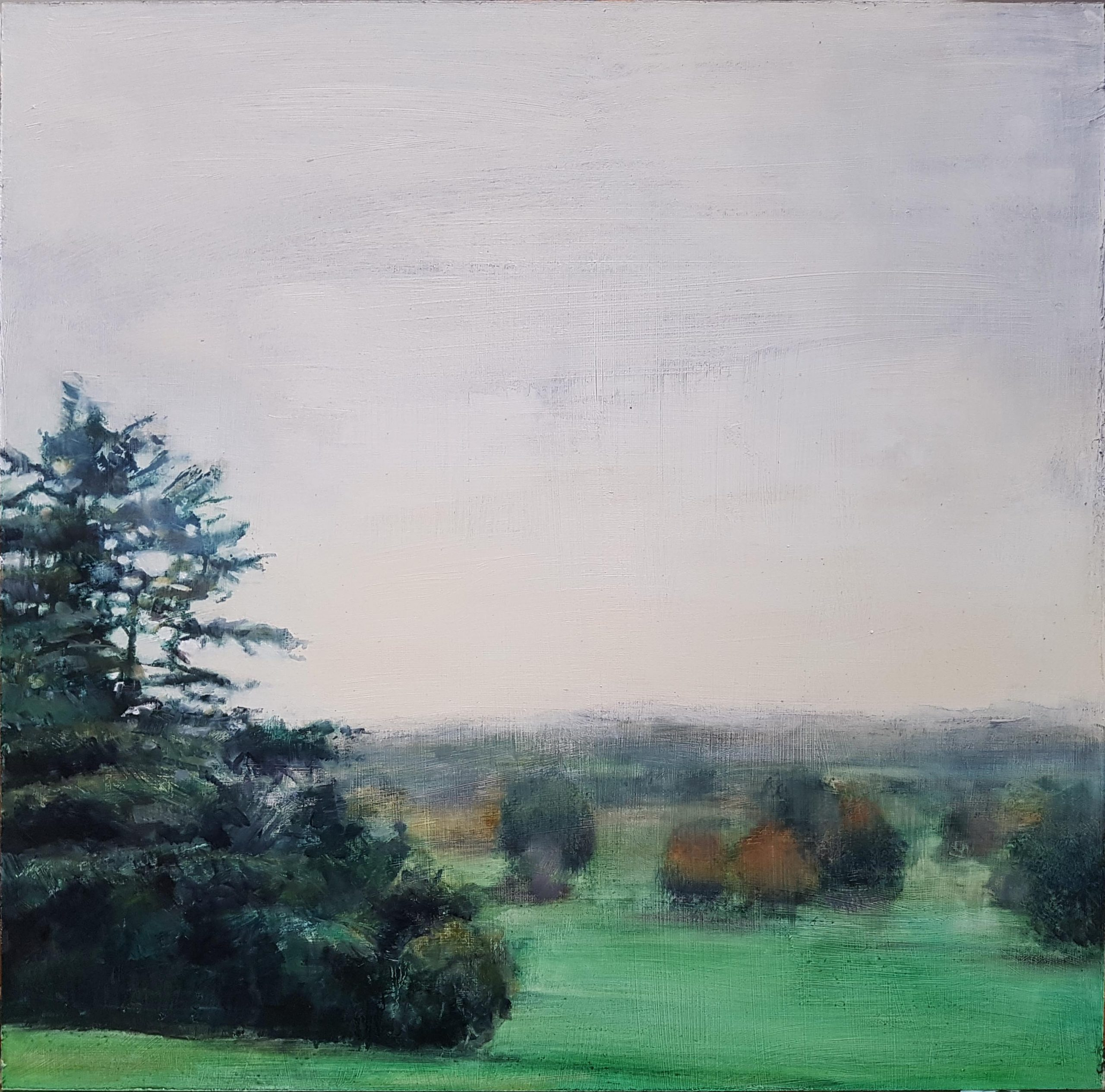 Playground of the Rich and Famous, 2020, oil on board, Landscape Painting of a misty autumn morning, 45x45cm, Julia Brown