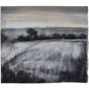 Dawn Frost, 2021, Ink charcoal and pastel, mixed media painting of a frosty dawn