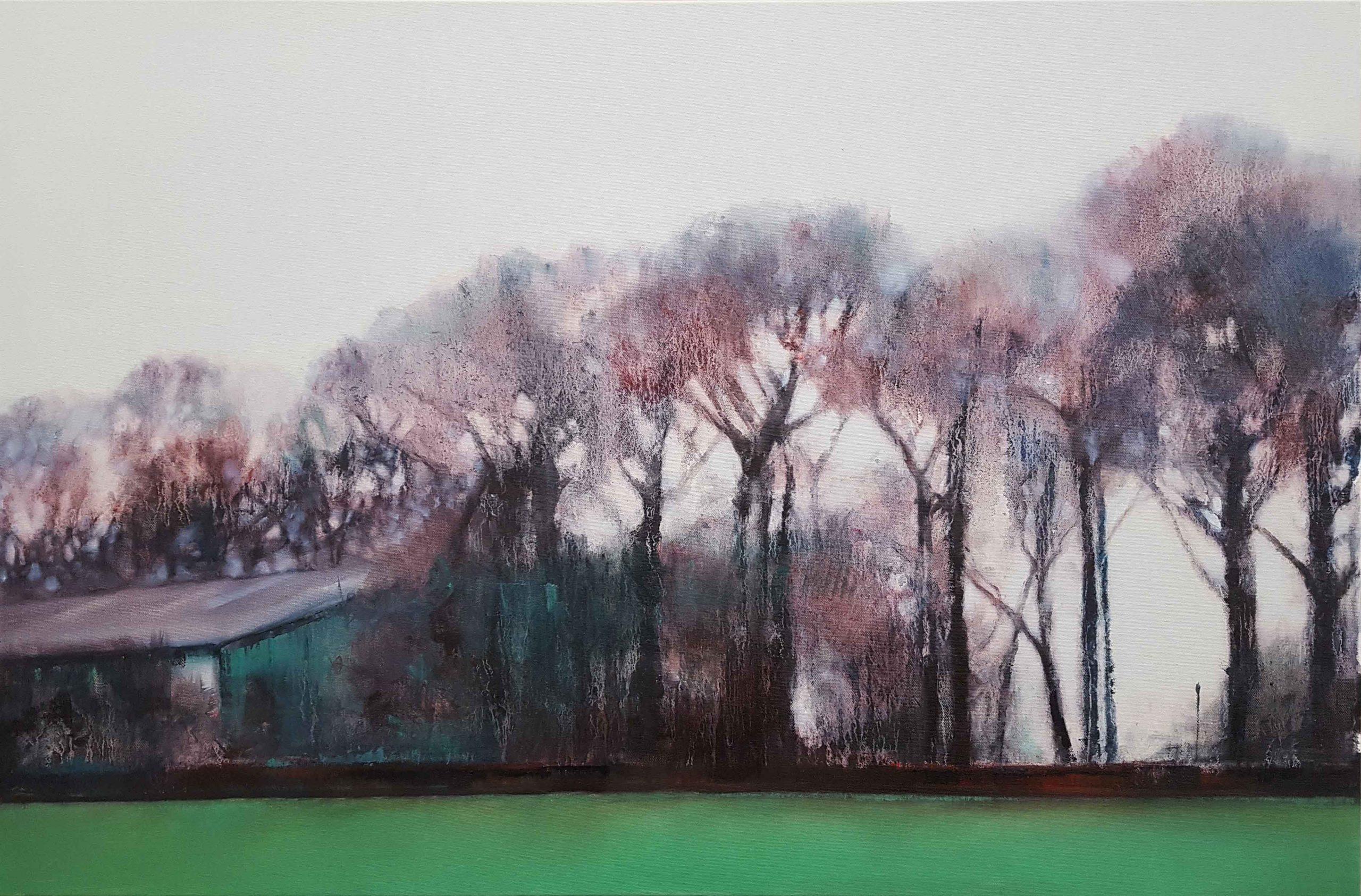 Factory Gates, 2020, Oil on canvas, 61 x 91.4cm (£1500 Framed)   Julia Brown