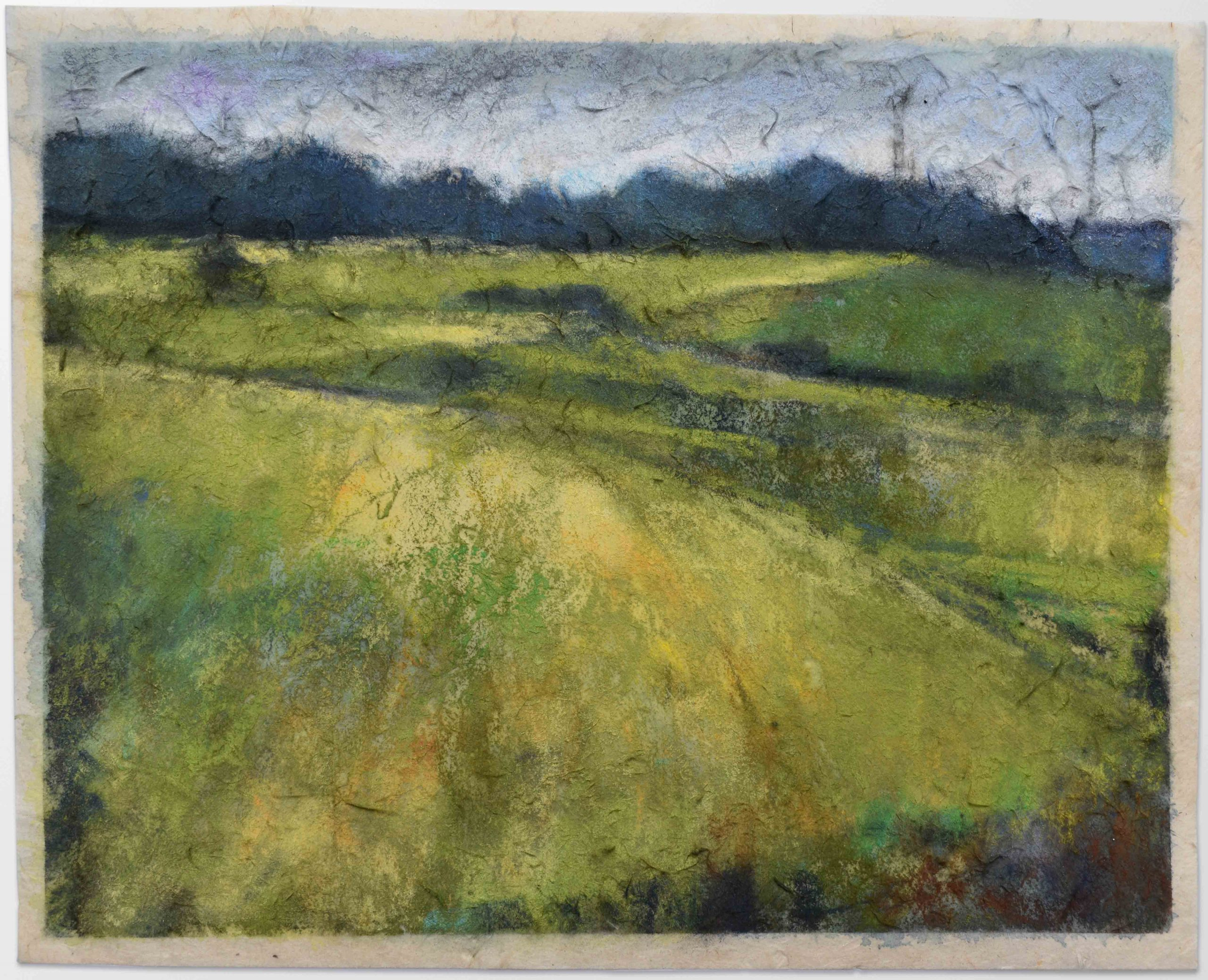 mixed media painting of moors and fields with wind turbines in the distance